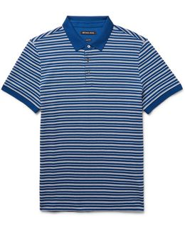 Striped Textured-knit Pima Cotton Polo Shirt