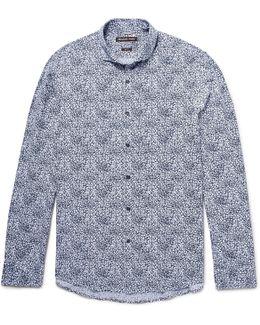Slim-fit Cutaway-collar Printed Cotton-poplin Shirt