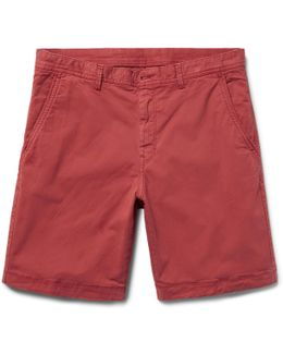 Slim-fit Garment-dyed Stretch-cotton Twill Shorts