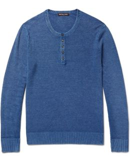 Mélange Linen And Cotton-blend Piqué Henley T-shirt