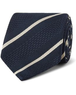 + Drake's 8cm Striped Silk-jacquard Tie