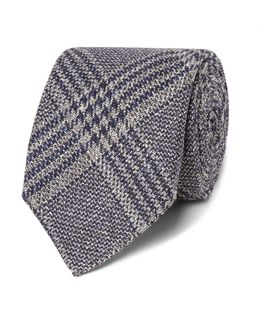 Drake's 8cm Checked Wool, Silk And Linen-blend Tie