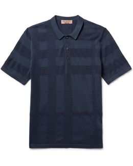 Piqué-panelled Silk And Cotton-blend Polo Shirt