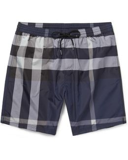 Mid-length Checked Swim Shorts