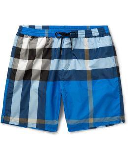 Mid-length Checked Swim Shorts
