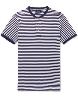 Striped Cotton-jersey Henley T-shirt