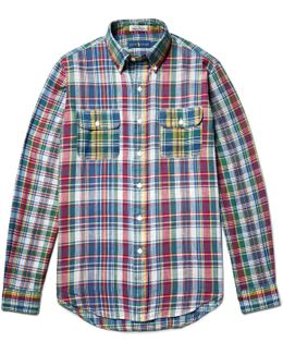 Slim-fit Button-down Collar Madras-checked Cotton Shirt