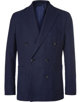 Blue Slim-fit Double-breasted Cotton And Wool-blend Hopsack Blazer