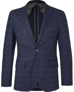 Blue Mayfair Slim-fit Checked Wool And Cotton-blend Blazer