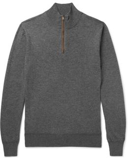 Slim-fit Suede-trimmed Wool And Cotton-blend Half-zip Sweater