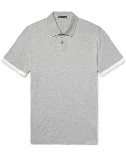 Contrast-tipped Mélange Cotton Polo Shirt