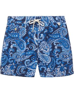 Mid-length Paisley-print Swim Shorts