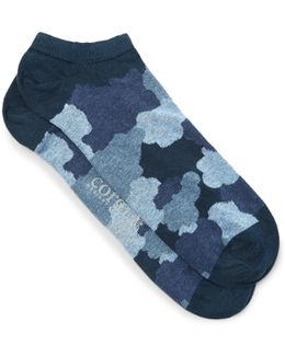 Camouflage-print Cotton-blend Socks