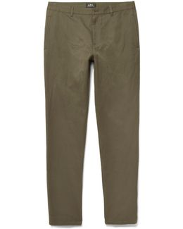 Slim-fit Cotton And Linen-blend Twill Trousers