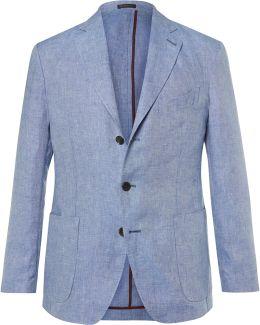 Blue Slim-fit Slub Linen Blazer
