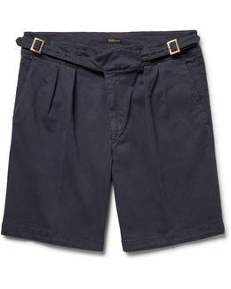 Manny Pleated Stretch-cotton Twill Shorts