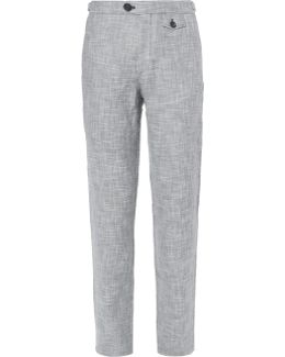 Tab Linen And Cotton-blend Trousers