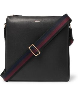 Webbing-trimmed Full-grain Leather Messenger Bag