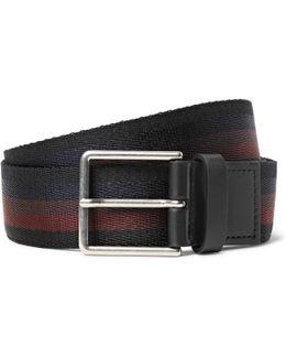 3.5cm Leather-trimmed Striped Webbing Belt