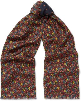 Double-faced Printed Silk And Wool-blend Scarf