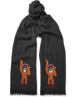 Monkey-embroidered Wool Scarf