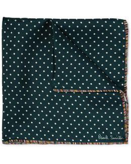 Stripe-trimmed Polka-dot Silk-twill Pocket Square