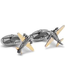 Gold-tone And Silver-tone Aeroplane Cufflinks
