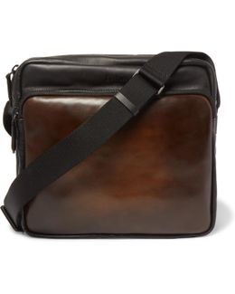 Two-tone Leather Messenger Bag
