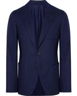 Blue Slim-fit Wool Suit Jacket