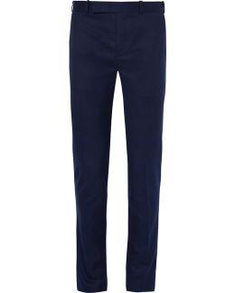 Blue Slim-fit Wool Suit Trousers
