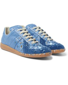 Replica Paint-splattered Suede And Leather Sneakers