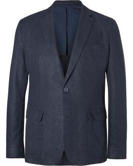 Blue Edgar Slim-fit Unstructured Linen Blazer