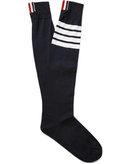 Striped Ribbed Mercerised Cotton-blend Over-the-calf Socks