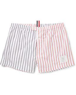 Two-tone Striped Cotton-poplin Boxer Shorts