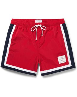 Mid-length Stripe-trimmed Swim Shorts