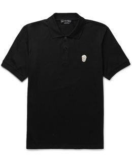 Zardozi-appliquéd Cotton-piqué Polo Shirt