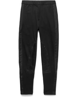 Slim-fit Tapered Satin-panelled Cotton-jersey Sweatpants