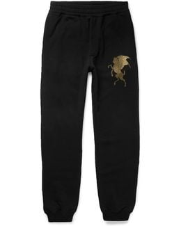 Slim-fit Tapered Printed Cotton-jersey Sweatpants