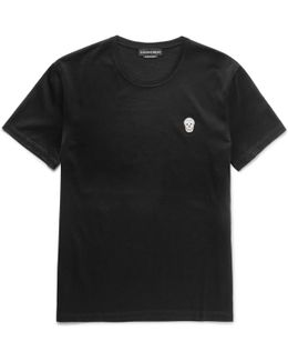 Skull-appliquéd Mercerised Cotton-jersey T-shirt