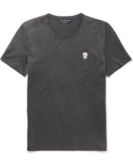 Slim-fit Skull-appliquéd Mercerised Cotton-jersey T-shirt