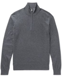 Suede-trimmed Mélange Cotton And Wool-blend Half-zip Sweater