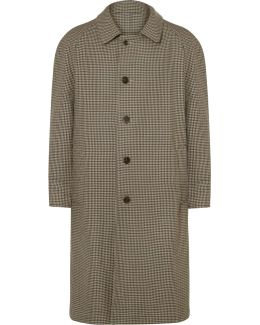Reversible Gingham Wool And Cotton-twill Trench Coat