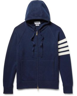 Striped Cashmere Zip-up Hoodie