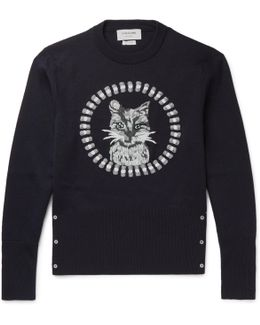 Cat-embroidered Wool Sweater