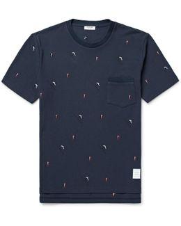 Slim-fit Skier-embroidered Cotton-piqué T-shirt