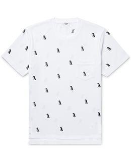 Penguin-appliquéd Cotton-piqué T-shirt