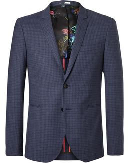 Blue Buggy Slim-fit Checked Wool Blazer