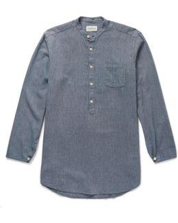 Panarea Grandad-collar Cotton-jacquard Shirt