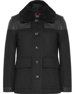 Leather-trimmed Virgin Wool-blend Coat
