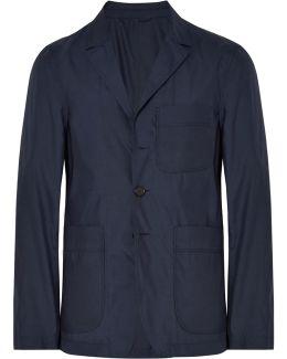 Navy Slim-fit Unstructured Silk And Wool-blend Blazer